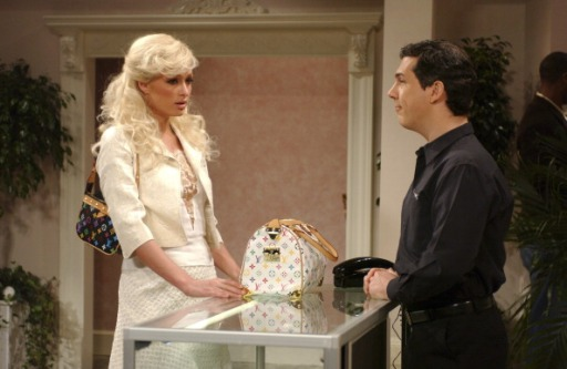 "SATURDAY NIGHT LIVE -- Episode 11 -- Aired 02/05/2005 -- Pictured: (l-r) Paris Hilton as Portia, Chris Parnell as Thomas the clerk during ""Purse Shopping"" skit (Photo by Dana Edelson/NBC/NBCU Photo Bank via Getty Images)"