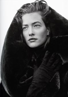Tatjana Patitiz wearing Azzedine Alaia coat photographed by Peter Lindbergh in 1986