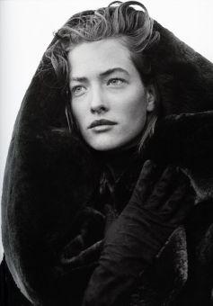 Tatjana Patitiz wearing Azzedine Alaia coat photographed by Peter Lindbergh in 1986