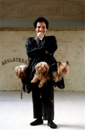 Azzedine Alaia with his Yorkshire terriesrs