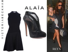 Azzedine Alaia dress and shoes worn by Victoria Bechkam