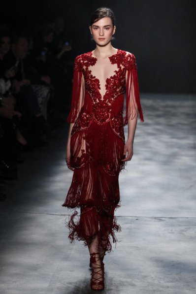 NEW YORK, NY - FEBRUARY 15: A model walks the runway wearing Marchesa Fall 2017 during New York Fashion Week at Gallery 2, Skylight Clarkson Sq on February 15, 2017 in New York City. (Photo by Thomas Concordia/WireImage)