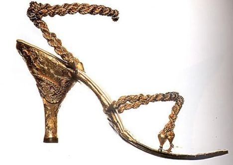 18kt golden sandals specially made for private Australin clieny by Salvatore Ferragamo in 1956