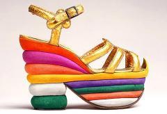 Salvatore Ferragamo's multicoloured suede platform sandal made for Judy Garland in 1938